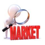 3d Little man studies the market Stock Photo