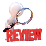 3d Little man studies the review Stock Photo