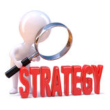 3d Little man studies strategy Stock Photos