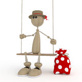 The 3D little man on a swing. Stock Images