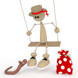 The 3D little man on a swing. Royalty Free Stock Images