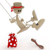 The 3D little man on a swing. Acrobatic exercises develop sense of humour Stock Image
