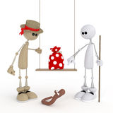 The 3D little man on a swing. Stock Image