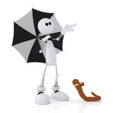 The 3D little man with an umbrella. Royalty Free Stock Photos