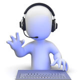 3d Little man wearing a headset online and waving Stock Photo