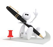 The 3D little man writes the letter. The small white person on springs costs with the handle Royalty Free Stock Images