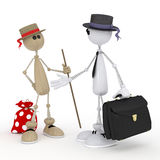 3d little men businessmen. Royalty Free Stock Photo