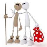3d little men friends. Two friends gather in a campaign royalty free illustration