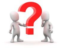 3d Little men have a question Stock Images