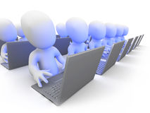 3d Little men work in a call centre. 3d render of little people working at laptops in a call centre or software development royalty free illustration