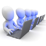 3d Little men working at laptops Stock Images