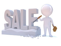 3d Little person carves the word Sale Royalty Free Stock Photo