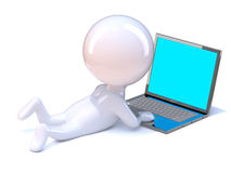 3d Little person relaxes with a laptop Royalty Free Stock Photos
