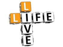 3D Live Life Crossword-tekst Royalty-vrije Stock Foto's
