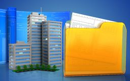 3d of living quarter. 3d illustration of living quarter with drawing roll over blue background Royalty Free Stock Image
