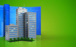 3d of living quarter. 3d illustration of living quarter with drawing roll over green background Stock Images