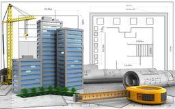 3d of living quarter. 3d illustration of living quarter with crane over blueprint background Royalty Free Stock Photo