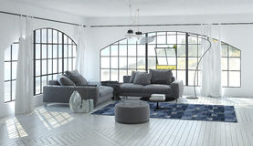 3D living room interior of airy living room Stock Photos
