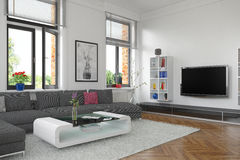 3d - living room - interior concept Royalty Free Stock Photo