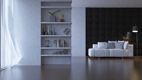 3d living room with leather wall. Stock Images