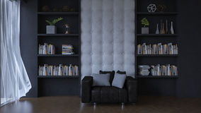 3d living room with leather wall. Royalty Free Stock Photo