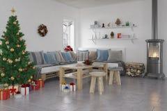 3d - livingroom - jul Royaltyfri Bild