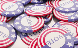 3d llustration of presidential campaign pins. Stock Image
