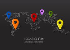 3D location pin marker on dot connected line low polygon world map. royalty free illustration