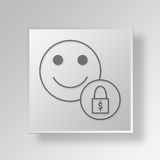 3D  Lock Account Button Icon Concept. 3D Symbol Gray Square Lock Account Button Icon Concept Stock Image