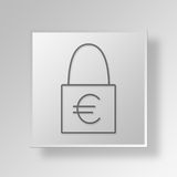 3D Lock Button Icon Concept Stock Photography