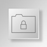 3D Lock Button Icon Concept. 3D Symbol Gray Square Lock Button Icon Concept Royalty Free Stock Image