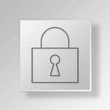 3D Lock Button Icon Concept. 3D Symbol Gray Square Lock Button Icon Concept Stock Image