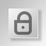 3D Lock Button Icon Concept. 3D Symbol Gray Square Lock Button Icon Concept Stock Photos