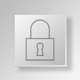 3D Lock Button Icon Concept. 3D Symbol Gray Square Lock Button Icon Concept Royalty Free Stock Photo