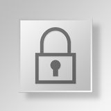 3D Lock Button Icon Concept Royalty Free Stock Photo