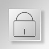 3D Lock Button Icon Concept. 3D Symbol Gray Square Lock Button Icon Concept Royalty Free Stock Photos