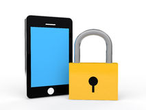 3d lock and cellphone Stock Images