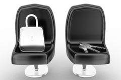 3d lock and key on chair Royalty Free Stock Photo