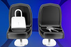 3d lock and key on chair illustration Royalty Free Stock Photo