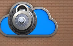 3d lock safe. 3d illustration of cloud with lock over bricks wall background Royalty Free Stock Image