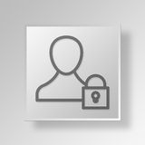 3D lock user Button Icon Concept Royalty Free Stock Photo