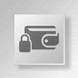 3D  Lock Wallet Button Icon Concept. 3D Symbol Gray Square Lock Wallet Button Icon Concept Stock Photos