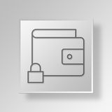 3D  Lock Wallet Button Icon Concept. 3D Symbol Gray Square Lock Wallet Button Icon Concept Royalty Free Stock Photography