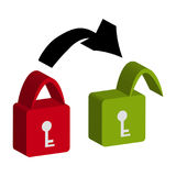 3D lock on white background.  Royalty Free Stock Images