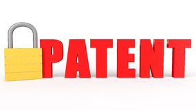 3d lock and word patent Stock Photography