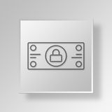 3D locked money icon Business Concept. 3D Symbol Gray Square locked money icon Business Concept Stock Images
