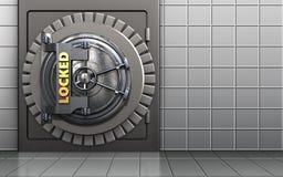 3d locked vault door metal safe. 3d illustration of metal safe with locked vault door over white wall background Stock Photos