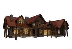 3D Log Home Illustration Stock Photography