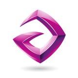 3d loga Ostra Glansowana Magenta ikona opierająca się dalej Pisze list A Obrazy Royalty Free
