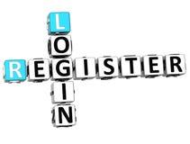3D Login Register Crossword Royalty Free Stock Photography
